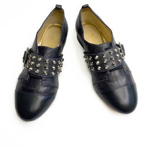 BE & D Studded Slip-On Oxfords with Buckle